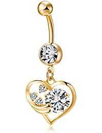Zibuyu Chic Hollow Out Heart Shape Zircon Navel Ring (Gold)
