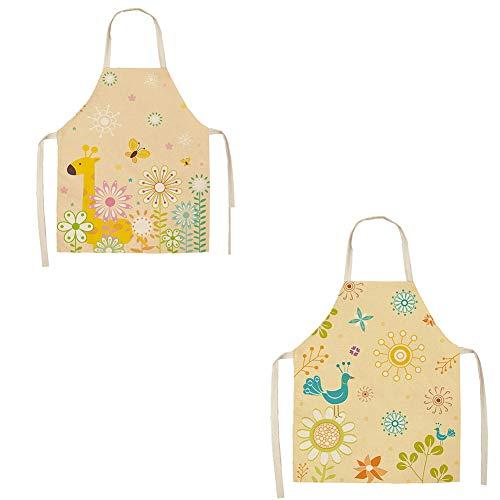 Adfsd Packung mit Zwei lustigen Print Chef Schürze für Grill BBQ Kochen Geburtstag Frau Freundin,C - Einweg Kind-kittel