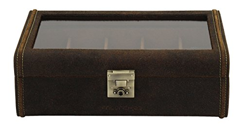 friedrich|23 Unisex Brown Leather Watch Box for 8 Watches 27022 6