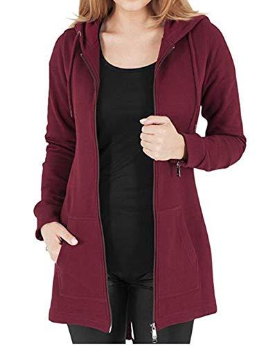 Kidsform Jacke Damen Hoodie Pullover Sweatshirt Kapuzenpullover Sweatjacke Mantel Herbstjacke Outwear S weinrot