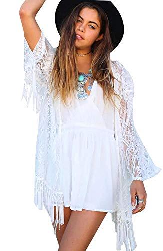 Yueyue Damen Sehen Durch Spitze Kimono Cardigan Exotische Vintage Boho Hippie Häkeln Quasten Mini Kleid Bikini Bademode Vertuschen (Weiß, M) -