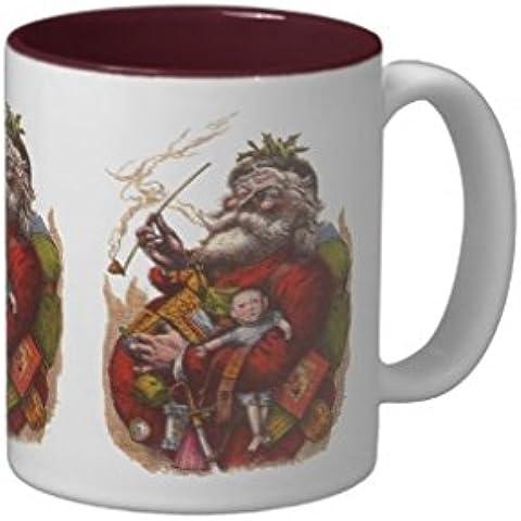 De la vendimia de la Navidad de Papá Noel Endingfo Two-Tone taza de café