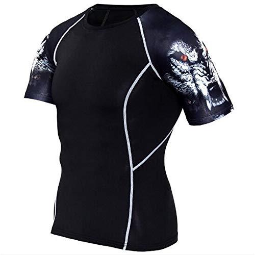 Männer Frühling Sommer Männer T-Shirts 3D Gedruckt Tier t-Shirt Kurzarm Lustige Design Casual Tops Tees Männlich,Stretch Fitness - D Schwarz L