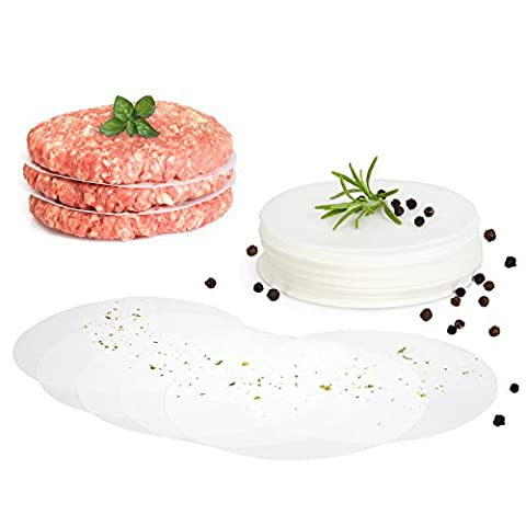 GOURMEO Burger Discs, 500 pieces, round, 11 cm, non- stick parchment paper for burger press and patty makers | 2 Year Satisfaction Guarantee |wax sheets for hamburger, burger patties, meat
