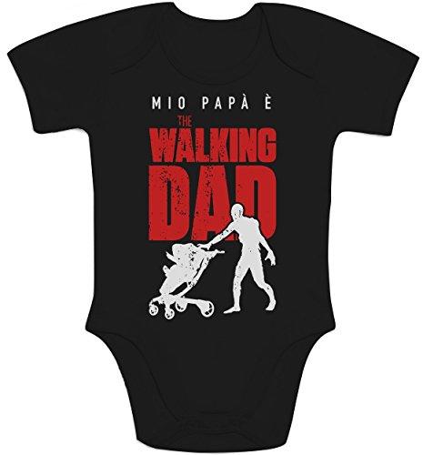 Mio papà è the walking dad - regalo per fan serie tv body neonato manica corta 0-3 mesi nero