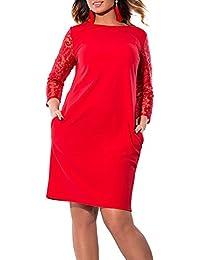WOZNLOYE Estivo Donna Taglia Larga Vestito Rotondo Collo Pizzo Cucitura  Manica Lunga Mini Abito Tinta Unita Eleganti Vestiti da Partito… 1e28d3a5099