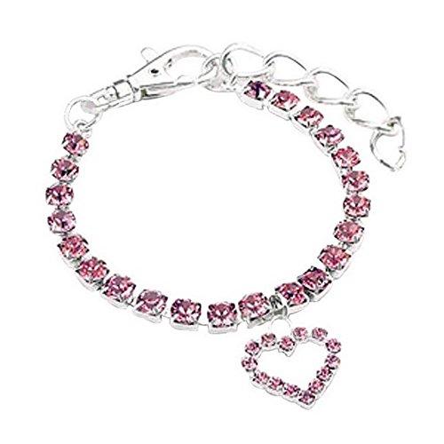 Homim Haustier Halsbandschmuck Halskette Hunde Katze Rosa Strass Glitzer mit Herz Anhänger Einstellbar Rot Halsband 30cm