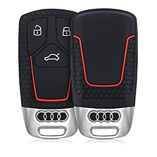 kwmobile Autoschlüssel Hülle für Audi - Silikon Schutzhülle Schlüsselhülle Cover für Audi 3-Tasten Smartkey Autoschlüssel (nur Keyless Go) Schwarz Rot