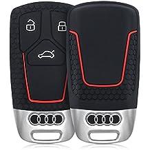 kwmobile Funda de silicona para llave Smart Key de 3 botones para coche Audi (solamente Keyless Go) - cover de llave - key case en negro rojo