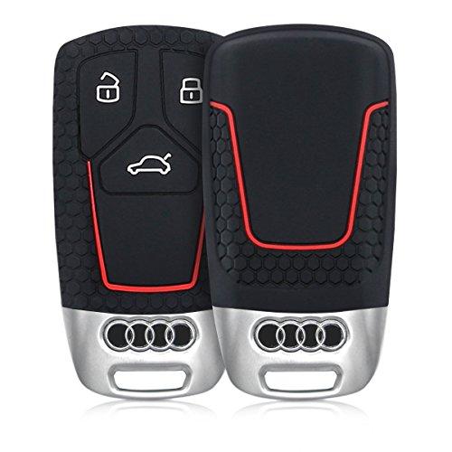 kwmobile Funda de Silicona para Llave Smartkey de 3 Botones para Coche Audi (Solamente Keyless Go) - Carcasa Protectora Suave de Silicona - Case Mando de Auto Negro/Rojo