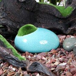 Fluval Keramik Ente Stein mit Moos blau (Blaue Keramik-ente)
