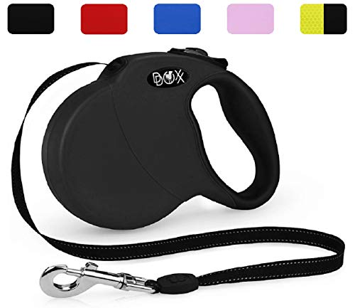 DDOXX Roll-Leine reflektierend, ausziehbar | viele Farben & Größen | für kleine & große Hunde | Hundeleine einziehbar Welpe Katze | Hundeleinen Zubehör Flexi-Leine Hund | S, 4 m, bis 10 kg, Schwarz
