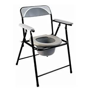Folding lightweight commode chair with top loading easily removable pot by Elite Care