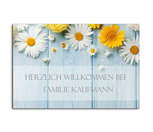 Edles Türschild mit Namen für die Haustür   Namensschild Briefkasten-Schild selbstklebend oder mit Bohrlöcher Klingelschild mit kratzfestem UV Druck   Größe 9x6 cm bunte Türschilder