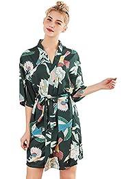 Alleza Mujer Vestido Kimono Satén, Camisón para Mujer Ropa de Dormir Pijama
