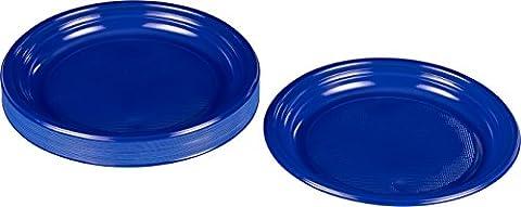 Kigima Assiettes jetables en plastique bleu, 30 pièces, diamètre 22cm