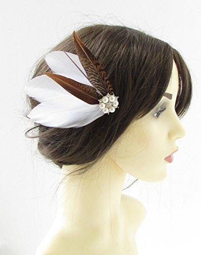 Blanc Marron/argenté Faisan plumes à cheveux vintage mariée 40S 322 * * * * * * * * exclusivement vendu par – Beauté * * * * * * * *