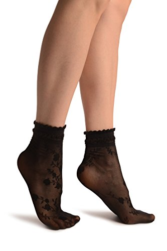 Black With Roses And Silky Comfort Top Ankle High Socks - Schwarz Socken Einheitsgroesse (37-42)
