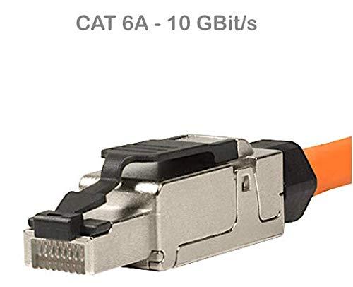 odedo RJ45 Cat 6A Netzwerkstecker feldkonfektionierbar Cat7 geschirmt 10 Gigabit werkzeugfreie Montage mit Zugentlastung, Crimp Stecker Field Terminable Plug (1 Stück) - Wiederverwendbare Zugentlastung