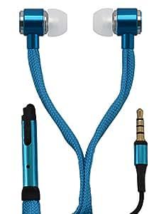 Cuffie Auricolari / EarPod con chiusura laccio / comandi , auricolari con sistema di soppressione del rumore / bassi ancora più potenti per iPhone, Sony, Samsung, LG, Huawei, HTC, etc. in blu di OKCS