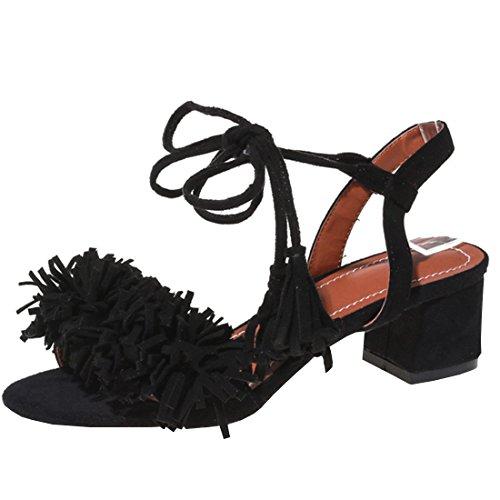 Agodor Damen Blockabsatz Bequeme Sandalen mit Fransen und Schnürung Riemchen Pumps Offen Schuhe