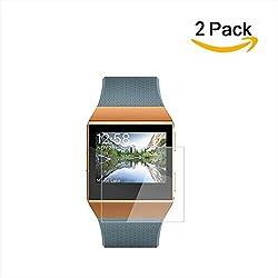 Protector de pantalla Ionic Fitbit de Fitbit (paquete de 2),protector de pantalla XIHAMA Liquid Skin Full Coverage para Fitbit Ionic SmartWatch HD transparente,fácil instalación,película anti-burbu