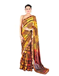 Ctc Mall Multi Printed Faux Georgette Saree - B00WELPHW4