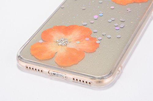 Cover iPhone X - Custodia in Glitter Silicone TPU - Surakey Belle iPhone 10 Custodia Brillantini Fiore Bling Diamante Trasparente Slim Ultra Sottile Gomma Morbida Gel Case Antigraffio Antiurto Flessib Giallo