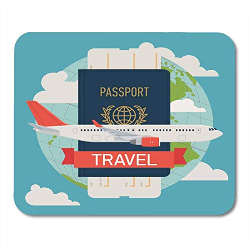 Mouse Pads Modern Flat on Airline Tickets and Travel with Jet Airliner Flying Passport Boarding Pass and Globe Mouse Pad for notebooks,Desktop Computers mats Office Supplies (Airline Ticket)