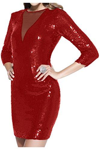 Promgirl House Damen 2016 Sexy Pailletten Cocktail Partykleider Abendkleider Kurz/Mini mit Lange Aermel Rot
