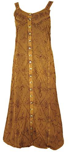 Guru-Shop Besticktes Boho Sommerkleid, Indisches Hippie Trägerkleid, Damen, Mustard, Synthetisch, Size:40, Lange & Midi Kleider Alternative...