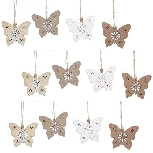 SIDCO Schmetterling Hänger 12 Stück Fensterhänger Fensterdeko Holz Frühling Deko