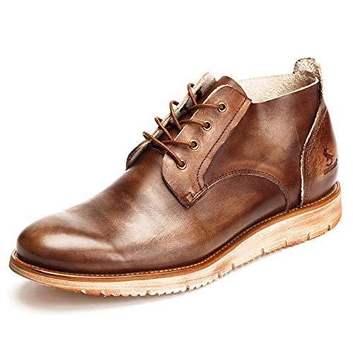 Alaeo Lässige Chukka-Schuhe für Herren Vintage Brush-Off-Schnürschuhe aus echtem Leder Schuhhohe Oberteile Stiefeletten Outdoor-Wandern Desert Boots,Coffee,40 -