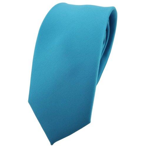 TigerTie schmale Krawatte in türkis türkisblau wasserblau einfarbig - Tuch 100% Polyester - Tie Binder