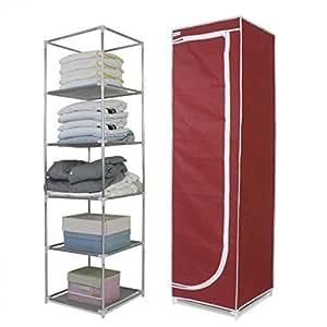 Finether Tall 5 Narrow Shelf Storage Unit Portable Closet
