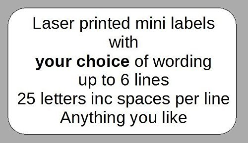 520 eBuyOne Personalised Mini Self-Adhesive Address Labels. Size : 38mm x 21mm Custom Printed in Black on Quality White Self Adhesive Labels / Stickers with up to 6 lines of text of your choice. Free P & P