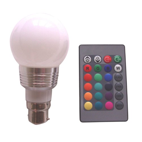 SODIAL(R) B22 3W 16 Colors Changing RGB LED Mood Spot Light Lamp Bulb + IR Remote Control