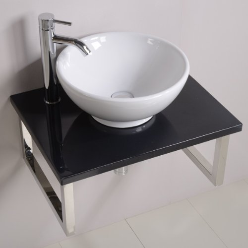 600 Vanity Unit with Vessel Basin for Bathroom Ensuite Cloakroom - Luxury Wall Hung Shelf Design - Black Sparkle Mineral Cast Wall Mounted Worktop - Modern Countertop Hand Wash Sink Bowl - Stainless Steel Brackets (Dimensions ** Furniture - Height: 280mm, Width: 600mm, Dept