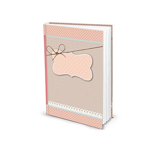 Rosa-rotes Blanko-Buch leeres Einschreibbuch Geschenkbuch Notizbuch Tagebuch DIN A5 mit 136 Seiten auf stabilem Papier! 1a-Qualität im Shabby Look Style, universelles Buch selber schreiben Leere-seiten-buch