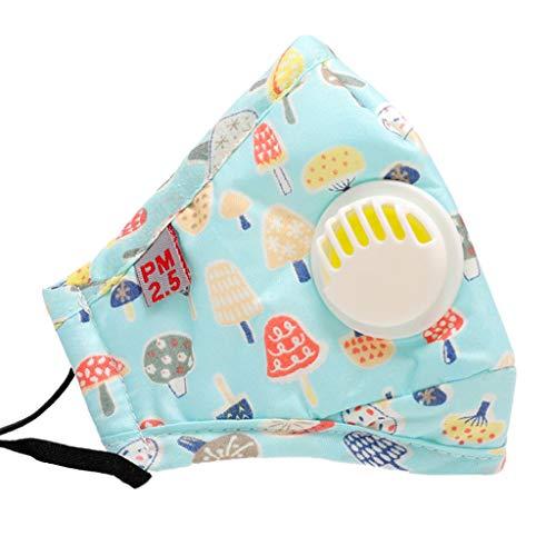 Qiulip Mundmaske für Kinder, 7 Stile, Baumwolle, Anti-Staub-Mundmaske, niedlich, buntes Cartoon-Auto, Bär, Pilz, bedruckt, PM2.5 5-lagiger Filter, Atemschutzmaske mit Atemventil -