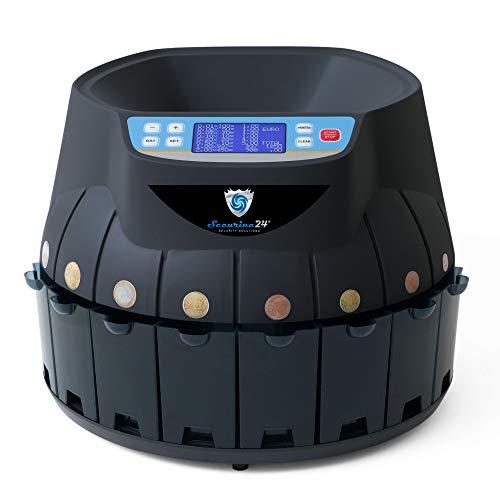 Münzzähler Geldzählmaschine Euro Münzzählmaschine Münzsortierter Geldzähler Professional Securina24® (schwarz)