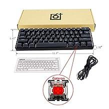 siwetg RGB LED Backlit Wired Mechanisch Toetsenbord, Draagbaar Compact Waterdicht Mini Gaming Keyboard 61 Keys Gateron Schakelaars voor PC GK61 Optical Axis Mechanisch Toetsenbord