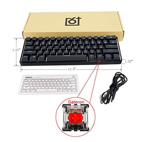 JOYKK beleuchtete kabelgebundene mechanische Tastatur, tragbare kompakte wasserdichte Mini-Gaming-Tastatur 61 Tasten Schalter für PC Mac - Rot - Mac Mini-modellen