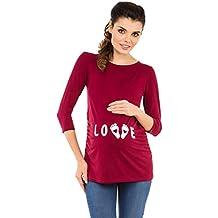 Zeta Ville Premamá - T-Shirt Camiseta Divertido Estampada - para Mujer - 548c