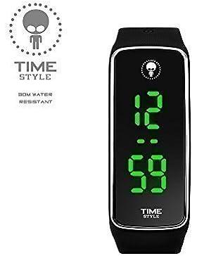 Time-Stil Innovative schwarz V2Unisex LED-Uhr–Geschenk Box–1Jahr Garantie