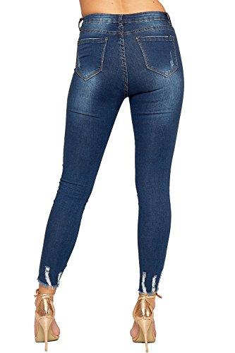 WEARALL - Femmes Ripped Affligé Fermeture Éclair Poche Dames Maigre Jambe Étendue Toile De Jean Cheville Jeans - 34-42 Bleu