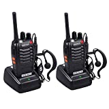 eSynic Walkie Talkies-2 way radio Long Range Walkie Talkie with 2 Pcs Original Earpieces Walky Talky 16CH Single Band Supports VOX LED Light Voice Prompt for Biking and Hiking