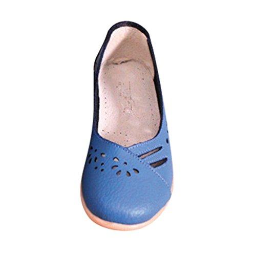 YAANCUN Femme Cuir Chaussure Ballet Casual Pompes Creux Respirant Ballet Slip Plat Dentraînement Chaussures De Bateau Comme limage