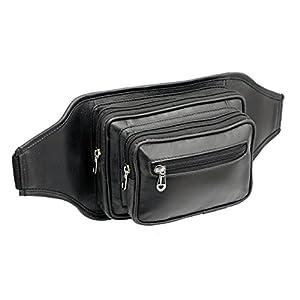 41azgGZsomL. SS300  - STARHIDE Large Genuine Leather Travel Money Belt Bum Bag Adjustable Waist Strap 510 Black
