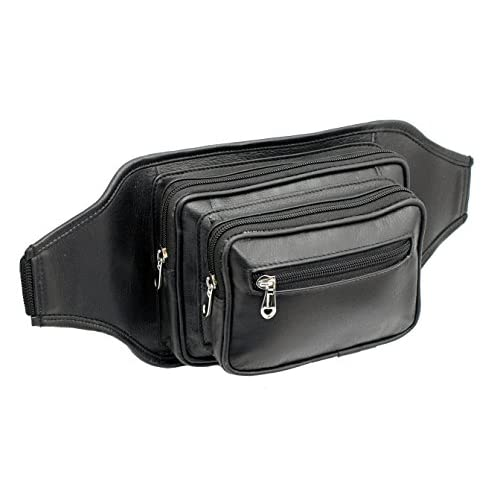 STARHIDE Large Genuine Leather Travel Money Belt Bum Bag Adjustable Waist Strap 510 Black